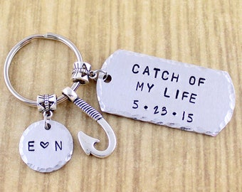 Catch Of My Life Keychain || Fishing Gifts For Husband Boyfriend || Hand Stamped Personalized Key Ring SRA 97123 12038 01283 083 ZAS
