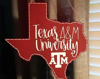 Texas A&M University Cutout | Maroon Texas Aggies Logo | Hanging Aggie Texas Cutout Sign