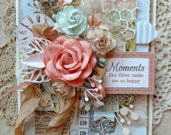 Beautiful Handmade Shabby Chic Peach and Mint Greeting Card #WC2017-15
