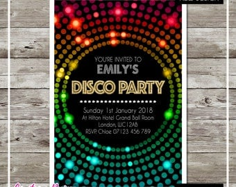32 Birthday Party Invitations Personalised with Envelopes - Gold effect Pink, Blue, Yellow