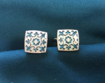 Fleur de Lis Turquoise Blue, White and Silver Cuff Links 1391