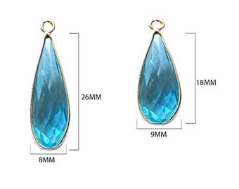 BLUE TOPAZ DROPS 8X26 mm silver single q