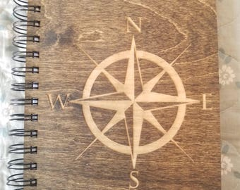 Compass Etched Wooden Notebook