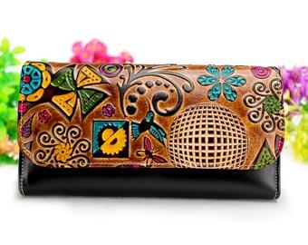 Women Wallet, Large wallet, Modern wallet, Card wallet, flower butterfly and bird wallet, Wallets for Women, Gifts for women