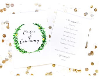 Order of Ceremony, Order of Service, wedding, typography, calligraphy, watercolour, watercolor