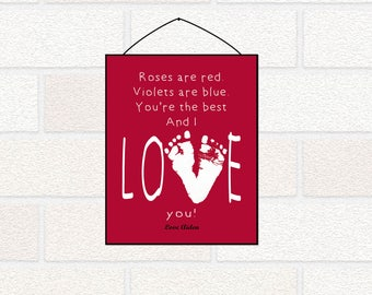 Valentines Gift with footprints, Roses are Red Valentines Printable for Mommy, Daddy, Grandma, Grandpa, Valentines Card from baby