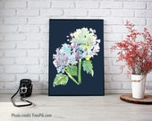 Blue Hydrangea Print - Floral Watercolor, Hydrangea Art, Large Prints, Large Giclee, Purple Hydrangea, Square Prints, dramatic flower art