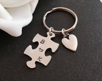 Personalised Initials Keyring, Puzzle keychain Hand stamped key chain, Couples key chain, stocking gift