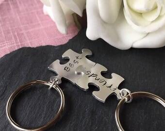Best Friends Keyring, Puzzle keychain Hand stamped key chain, Friends key chain, stocking gift