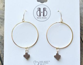 Chocolate Stone Cross 14K Gold Dipped Earrings /Gift For Women