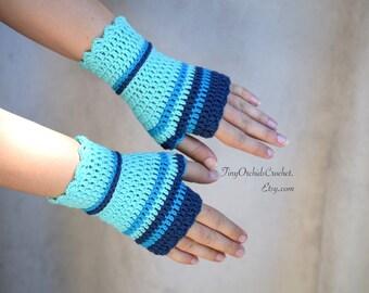 Crocheted wristwarmers in turquoise and blue, merino wool fingerless gloves, office gloves, striped wrist warmers