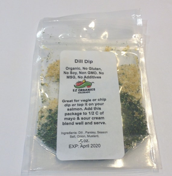 Organic Dill Dip. No additives, no dairy, no MSG, no Soy, no Gluten