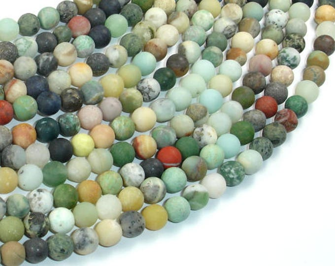 Matte Mixed Stone, 6mm Round Beads, 15.5 Inch, Full strand, Approx 64 beads, Hole 0.8mm (318054010)