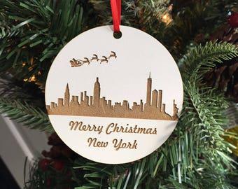 Christmas Tree Ornament, Laser Engraved Ornament, Wood Ornament, Personalized Ornament, Christmas Gift, New York City Skyline Ornament