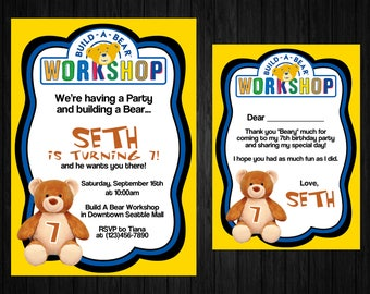 Build a bear invite etsy build a bear invitation thank you card only build a bear thank you filmwisefo Images