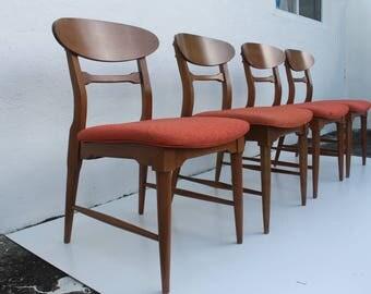 Vintage Walnut Danish Dining  Chairs  Set Of 4.
