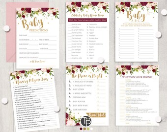 Baby Shower Games Girl, Baby Shower Games Printable, Marsala Baby Shower  Games, Girl