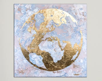 Art on canvas, Modern Art, Map of the World, Globe, World Map Painting, Gold Leaf art, Painting on canvas, Office decor, Large painting