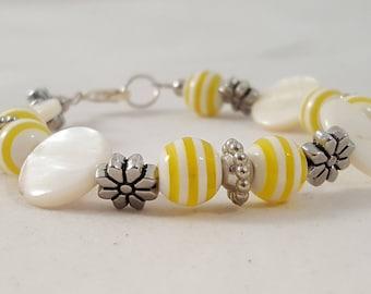 Yellow & White Bracelet - Yellow Bracelet - White Bracelet - Floral Bracelet - Spring Bracelet - Summer Bracelet - Flower Bracelet - Yellow
