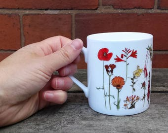Rainbow of Flowers China Mug design with illustrations by Alice Draws The Line; a rainbow of botanical flower illustrations on a China cup