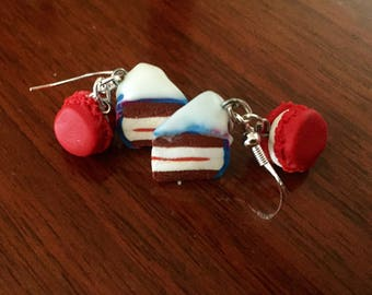 Cake and macaroon earrings