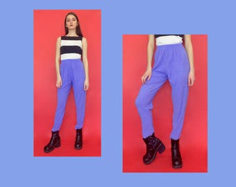 Vintage 80s 90s Stretchy Purple Elastic Waistband High Waisted Trouser Pants