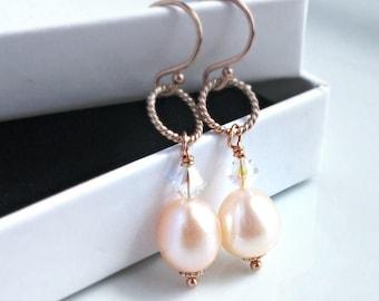 Pink Pearl & Rose Gold Bridal Earrings - Fresh Water Pearl Earrings - Wedding Earrings - Gift For Her