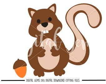 Squirrel And Acorn svg / dxf / eps files. Digital download. Compatible with Cricut and Silhouette machines. Small commercial use ok.