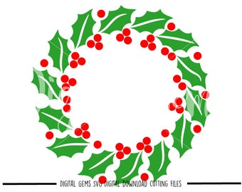 Christmas Holly Wreath svg / dxf / eps files. Digital download. Compatible with Cricut and Silhouette machines. Small commercial use ok.