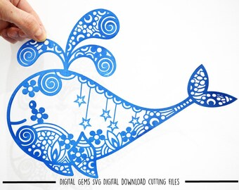 Zentangle Whale paper cut svg / dxf / eps / files and pdf / png printable templates for hand cutting. Download. Small commercial use ok.