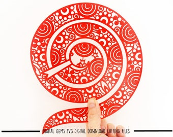 Zentangle Snake paper cut svg / dxf / eps / files and pdf / png printable templates for hand cutting. Download. Small commercial use ok
