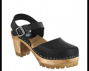 MIA size 38 black platform clogs genuine leather wooden clog sandals