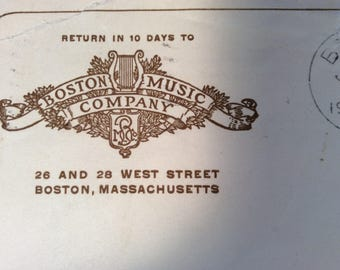 Boston Music Company cancelled envelope 1909