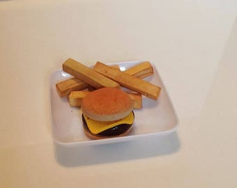 Doll Cheeseburger, fries on plate.  For American girls, Doll food, polymer clay food, for all 18 inch dolls