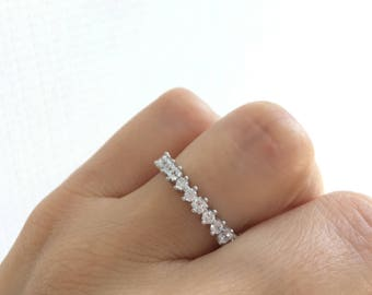 Beautiful Wedding Band. Wedding Ring. Eternity Band Ring. 3MM Fine Cz Eternity Ring. Sterling Silver Stacking Rings. Eternity Band Ring.