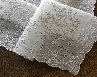 Vintage White Linen BRIDE 's Hanky~Lavish SATIN Padded Floral EMBROIDERY~Drawn-Thread Needlework Hand-Done~Bridal Heirloom Piece~Roses