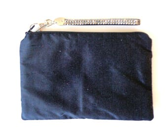 Black Silk Clutch, Black Clutch, Brides Purse, Evening Bag, Black Wristlet, Bridesmaid Gift, Bridal Clutch, Wedding Clutch,