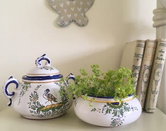 Pretty Vintage French Pottery, Lidded Pots,  Blue & White, Hand painted,  French Cottage Chic, Home Decor