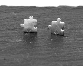 Sterling Silver Super Cute Jigsaw Stud Earrings, Textured Matte Finish, Autism Awareness, Fun and Quirky Jewellery  H70