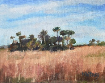 Original Oil Painting, Small Painting, Oil Paintings,Palm Trees Landscape, Florida Painting, Everglades 6x8, Sue Whitney, Oil on Canvas Art