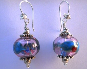 Transparent rose hollow lampwork beads, turquoise and red design earrings with Sterling silver beads and ear wire