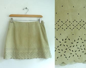 "40%offAug22-24 90s suede mini skirt laser cut mico mini suede skirt beige eyelet genuine suede leather skirt womens xs/small 28"" waist"