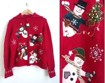 winter snowman sweater 90s knit christmas sweater red green beaded snowflake sweater zip up collared sweater womens jumper medium