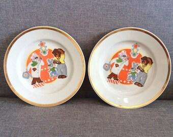 Soviet kids porcelain plates 2 pcs, vintage russian Traffic Laws Teaching childrens cartoon painted dishes Dr. Aibolit