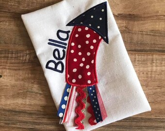 July 4th Embroidered Onesie or Shirt Independence Day Firecracker Ribbon