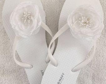 White Flip Flops with silk floral accessory