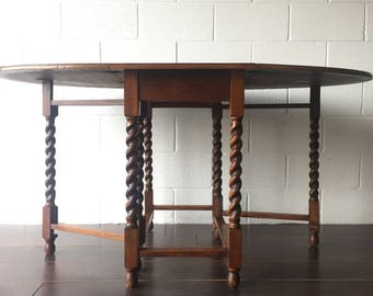 1920s English Oak Barley Twist Drop Leaf Table, Free Springfield VA pick up/Shipping Optional-Extra