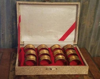 Set of 12 Vintage Solid Brass Napkin Rings Holders In Original Box