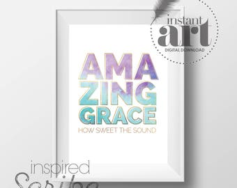 Amazing Grace How Sweet the Sound watercolor and gold baptism, first communion, confirmation DIGITAL DOWNLOAD
