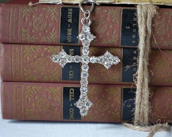 Vintage rhinestones cross pendant - Silver tone cross